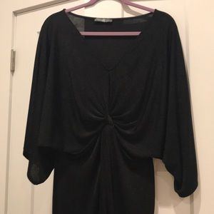 Missguided Front tie-knot black dress